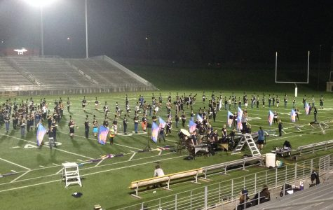 Marching band drums up full show