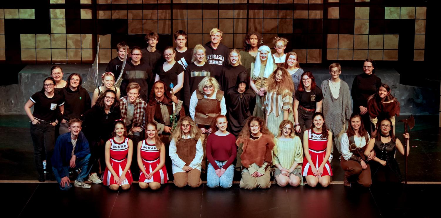 Photo taken by Steve Cobb. Entire cast and crew posing together for a group picture after the last dress rehearsal.
