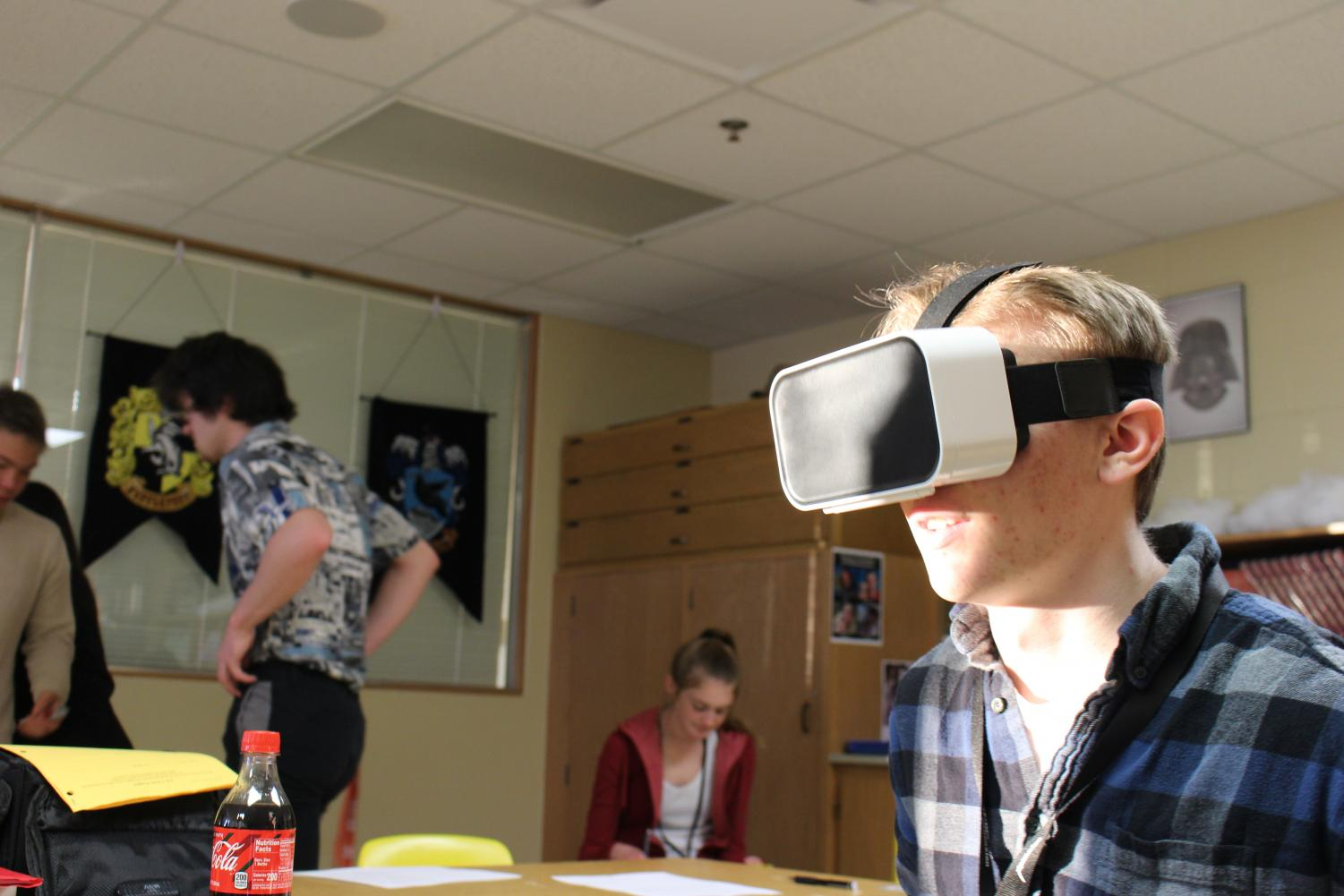 Senior Thomas Reinke tests a VR rollercoaster Photo Cred: Seth Householder