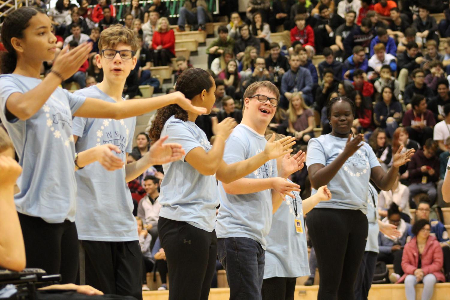 Step Chain performs at the Winter Pep Rally on Dec. 4, 2018.