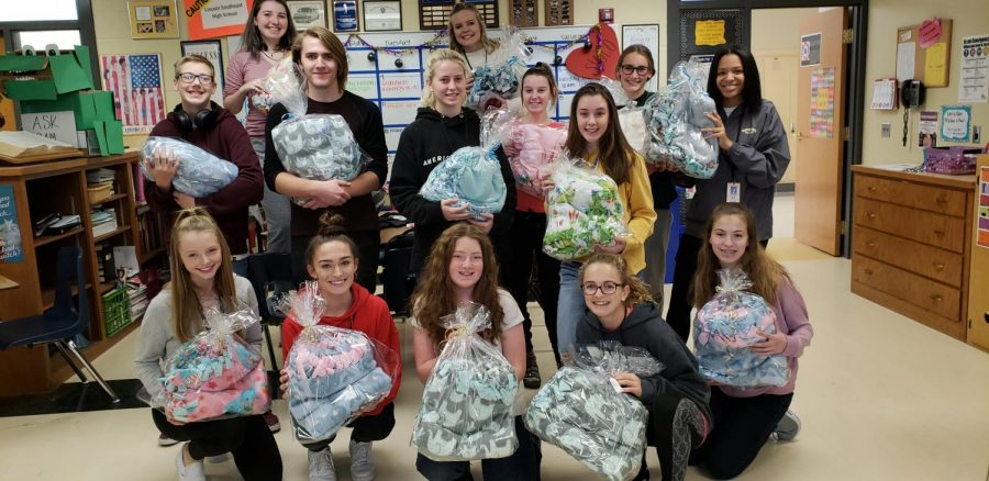 Leadership class donates handmade tie-blankets to Children's Hospital of Omaha