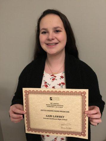 Gabi Lawrey wins the Outstanding Band Musician Award