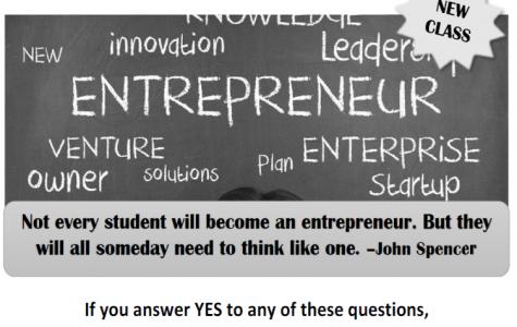 Entrepreneurship class up for enrollment at LSE for 2019-2020 school year