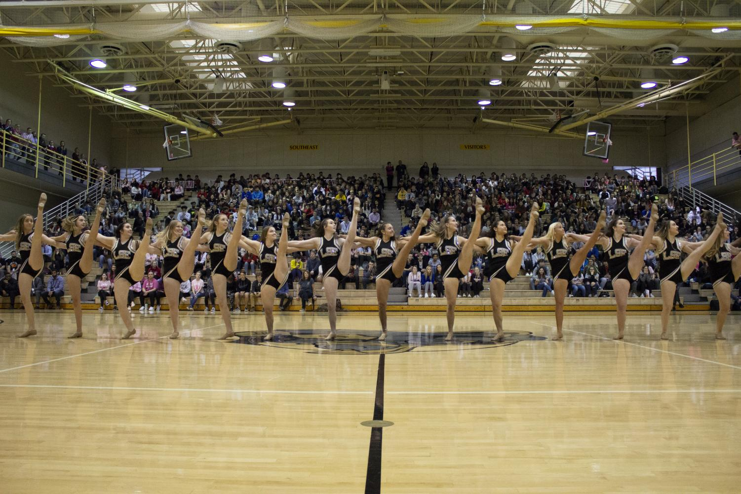 The Shirettes Dance Team assemble into a kick-line at the Spring Pep Rally. Photo Cred: Alyssa Johnson