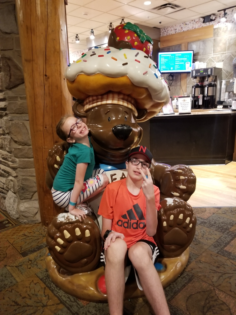 Freshman Cillian Smith poses for a picture with his sister, while spending time with his family this summer at Great Wolf Lodge in Kansas City. Photo by Amy Smith (Cillian's mom)
