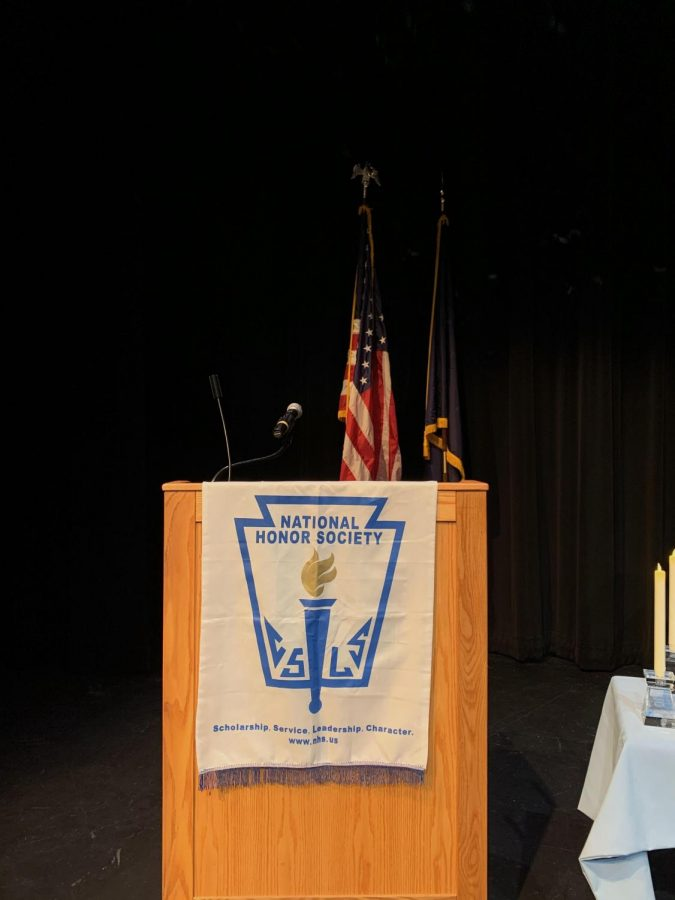 The+podium+at+the+NHS+induction+ceremony.++