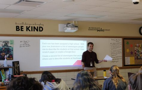 English teacher, Patrick Kirkland, teaches students about stereotypes in his English 9D class.