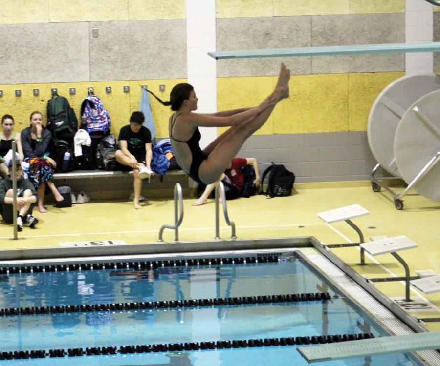 LSE+Freshman+Poppy+Morrow+diving+at+Thurday%27s+diving+meet.+