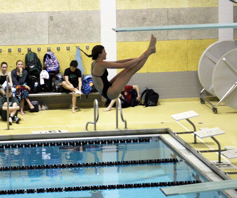LSE Freshman Poppy Morrow diving at Thurday's diving meet.