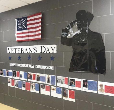 Veterans Day display outside of the LSE media center.