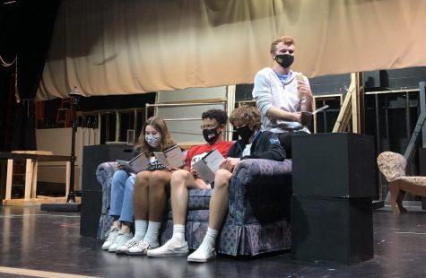Lily Larsen (11), Jalijah Rieck-Brown (12), Dawson Trumbley (12) and Jack Liegl (12) running through the show Take 5.