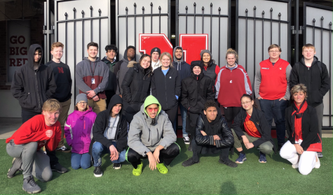 KnightVision and the video production class on field trip to Memorial Stadium. At the stadium they were given a tour of HuskerVision. Photo provided by Julie Nelson.