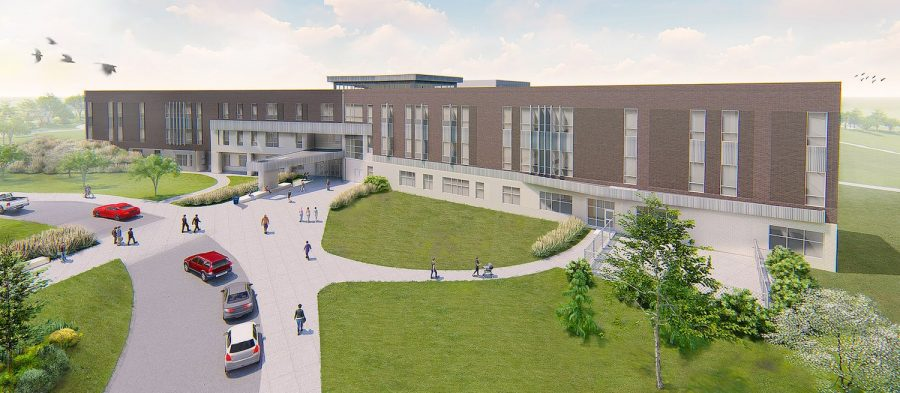 Front view rendering of a new LPS high school.  Rendering made by The Clark Enersen Partners. Provided by Lincoln Public Schools Operations.